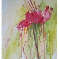 'Rote Blume'  Acryl  50/70cm